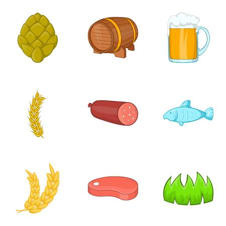 Arable farming icons set, cartoon style