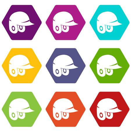 Baseball helmet icon set color hexahedron