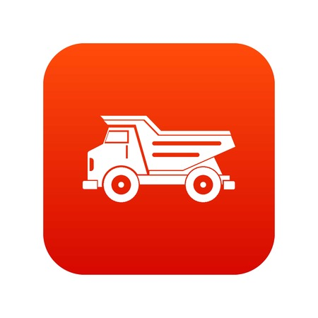 Dump truck icon digital red