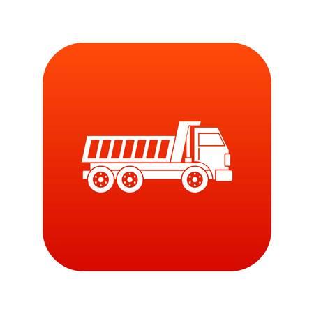 Dumper truck icon digital red Illustration