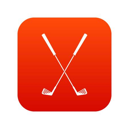 Two golf clubs icon digital red