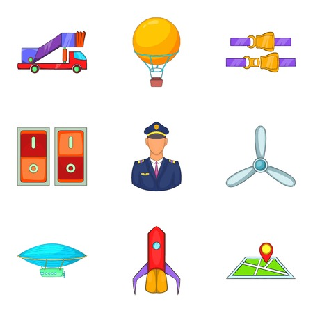 Piloting icons set, cartoon style Illustration