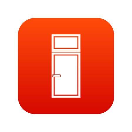 casement: Wooden window icon digital red