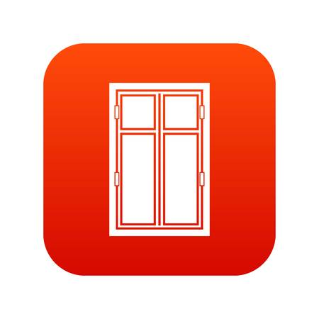Wooden window icon digital red