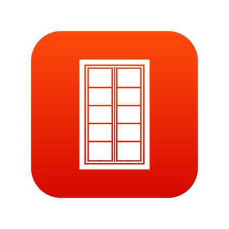 casement: Wooden latticed window icon digital red