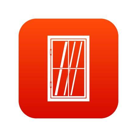 casement: Closed window icon digital red