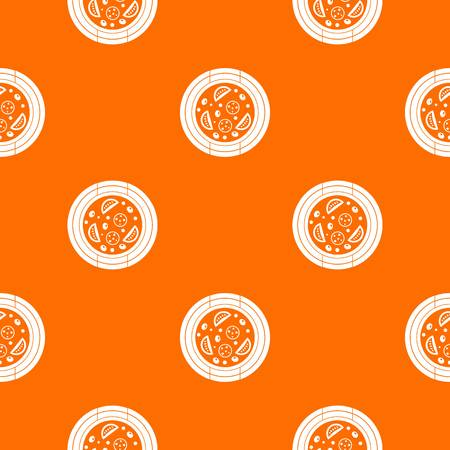 Pizza with sausage, tomatoes and olives pattern repeat seamless in orange color for any design. Vector geometric illustration Illustration