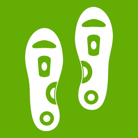 Orthopedic insoles icon white isolated on green background. Vector illustration