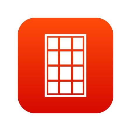 White arched window icon digital red