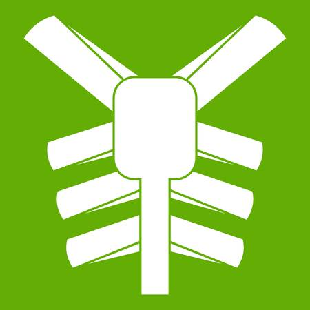 Human thorax icon white isolated on green background. Vector illustration