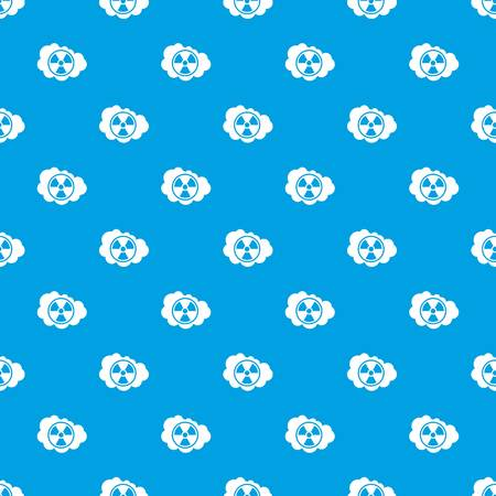 uranium: Cloud and radioactive sign pattern repeat seamless in blue color for any design. Vector geometric illustration