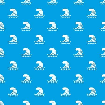 water splash isolated on white background: Tsunami wave pattern repeat seamless in blue color for any design. Vector geometric illustration Illustration