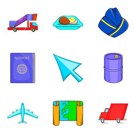 Aerial view icons set. Cartoon set of 9 aerial view vector icons for web isolated on white background Illustration