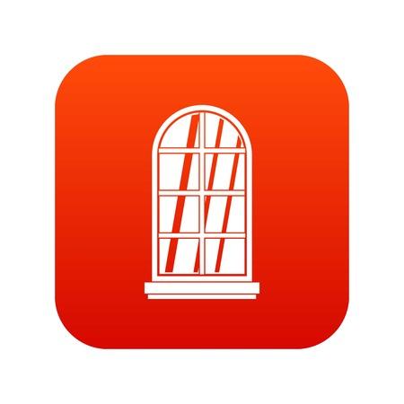 casement: White window frame icon digital red for any design isolated on white vector illustration Illustration