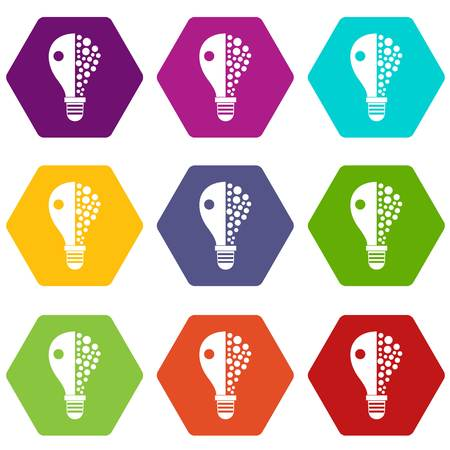 Light bulb icon set many color hexahedron isolated on white vector illustration
