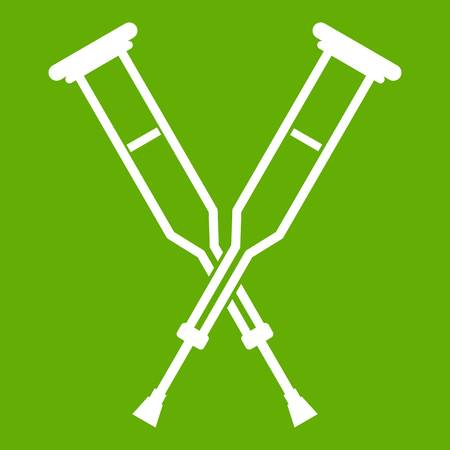 accidental: Crutches icon white isolated on green background. Vector illustration