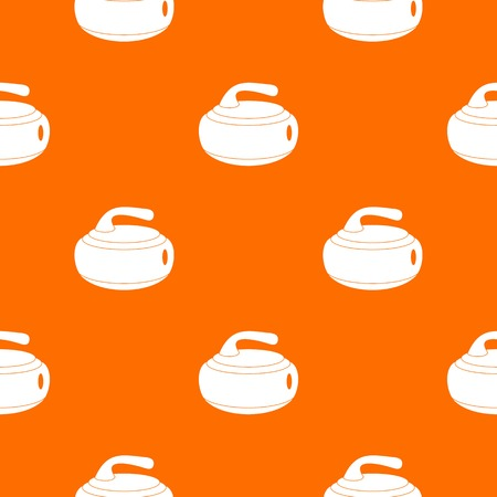 Curling stone pattern repeat seamless in orange color for any design. Vector geometric illustration