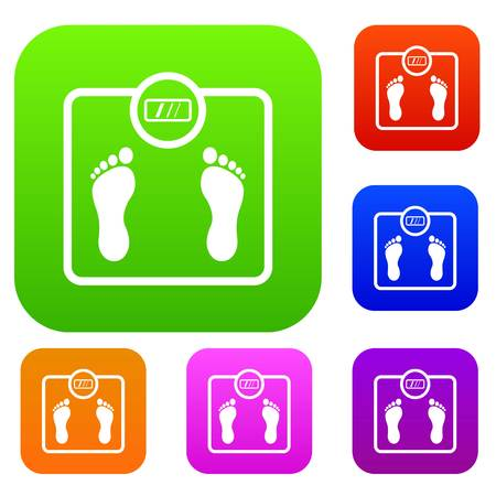 bathroom scale: Floor scales set icon in different colors isolated vector illustration. Premium collection