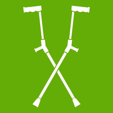 Other crutches icon white isolated on green background. Vector illustration Illustration