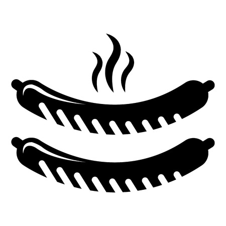 Grilled sausages icon. Simple illustration of grilled sausages vector icon for web