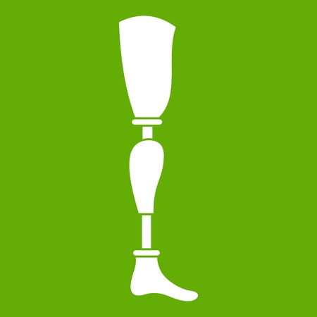 invalid: Prosthesis leg icon white isolated on green background. Vector illustration