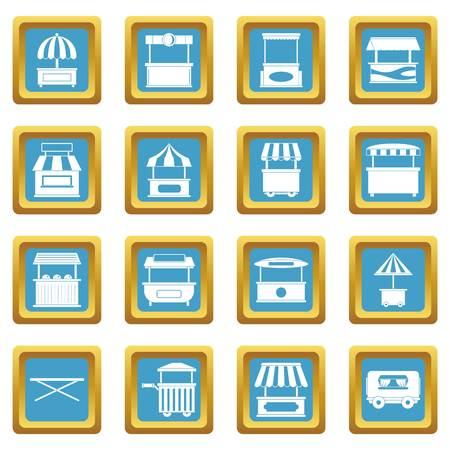 Street food truck icons azure Illustration