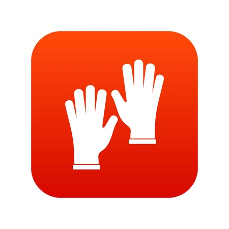 surgical glove: Medical gloves icon digital red