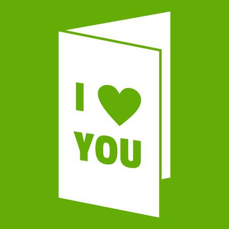 Happy Valentines day or weeding card icon white isolated on green background. Vector illustration