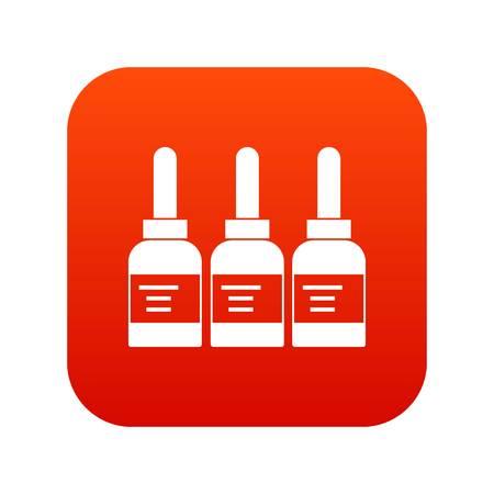 professionally: Three tattoo ink bottles icon digital red