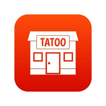 Tattoo salon building icon digital red