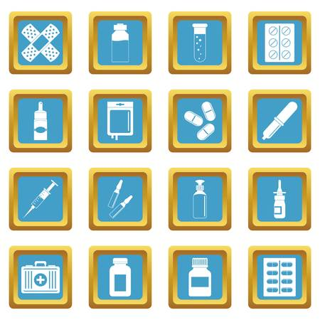 Different drugs icons azure