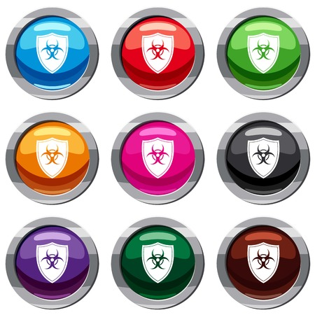 Shield with a biohazard sign set icon isolated on white. 9 icon collection vector illustration Stock Vector - 84813187
