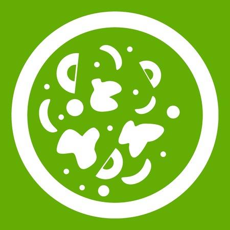 japanese ethnicity: Asian hot dish icon white isolated on green background. Vector illustration