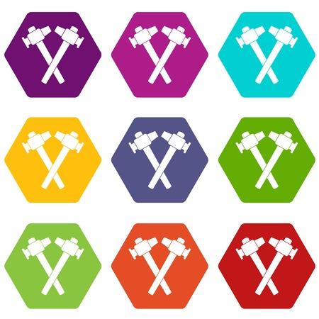 Het gekruiste pictogram van de smidshamer plaatste veel die kleurenhexahedron op witte vectorillustratie wordt geïsoleerd