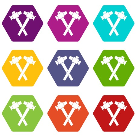 Crossed blacksmith hammer icon set many color hexahedron isolated on white vector illustration