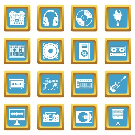 Recording studio items icons azure