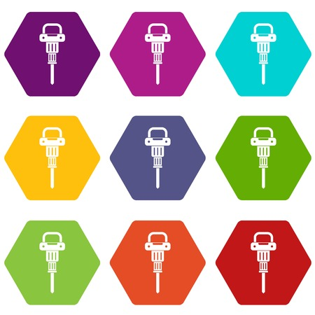 jack tar: Pneumatic hammer icon set color hexahedron