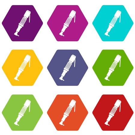 Pneumatic screwdriver icon set color hexahedron Illustration