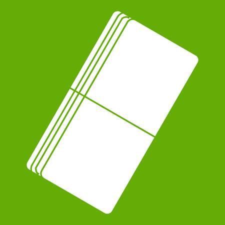 Flat illustration of white eraser in green background.