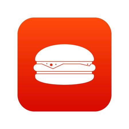 Burger icon digital red for any design isolated on white vector illustration