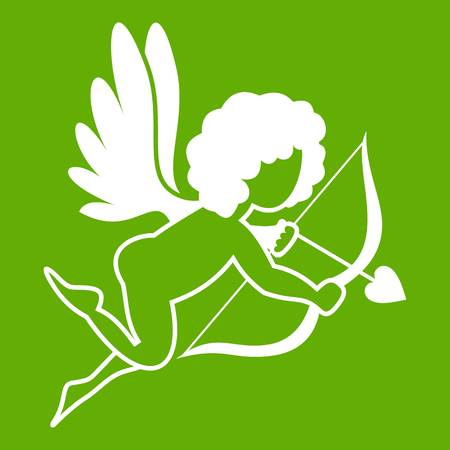 Love Cupid icon white isolated on green background. Vector illustration