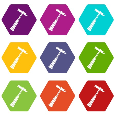 Hammer slag of welder icon set many color hexahedron isolated on white vector illustration Illustration