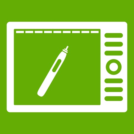 Graphics tablet icon white isolated on green background. Vector illustration
