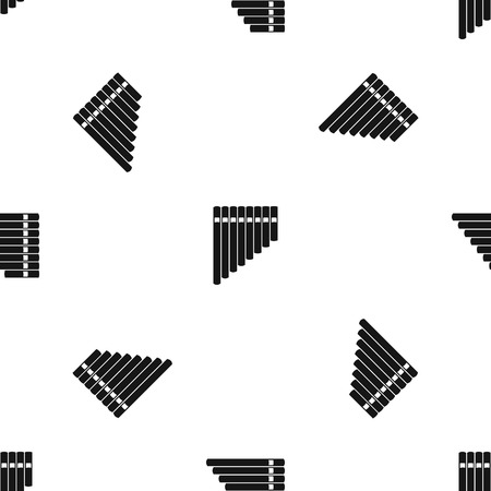 Pan flute pattern repeat seamless in black color for any design. Vector geometric illustration Illustration