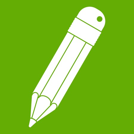 Pencil icon white isolated on green background. Vector illustration Illustration