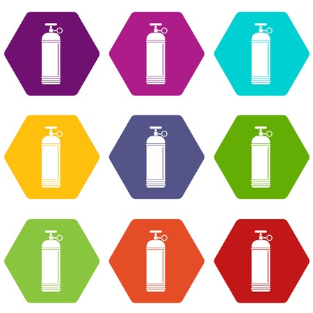 Compressed gas container icon set color hexahedron