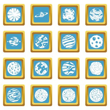 Fantastic planets icons set in azur color isolated vector illustration for web and any design Ilustrace