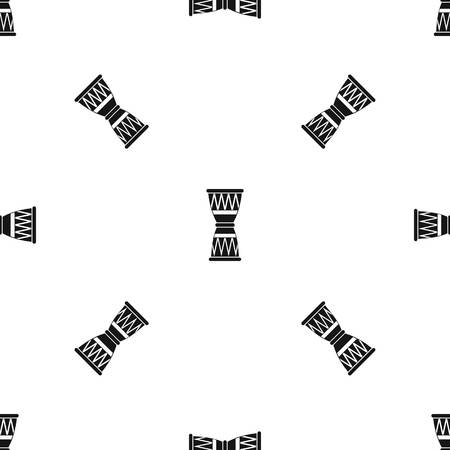 rope folk: African drum pattern repeat seamless in black color for any design. Vector geometric illustration Illustration