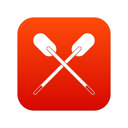 Two wooden crossed oars icon digital red for any design isolated on white vector illustration
