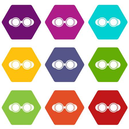 Welding glasses icon set many color hexahedron isolated on white vector illustration Illustration